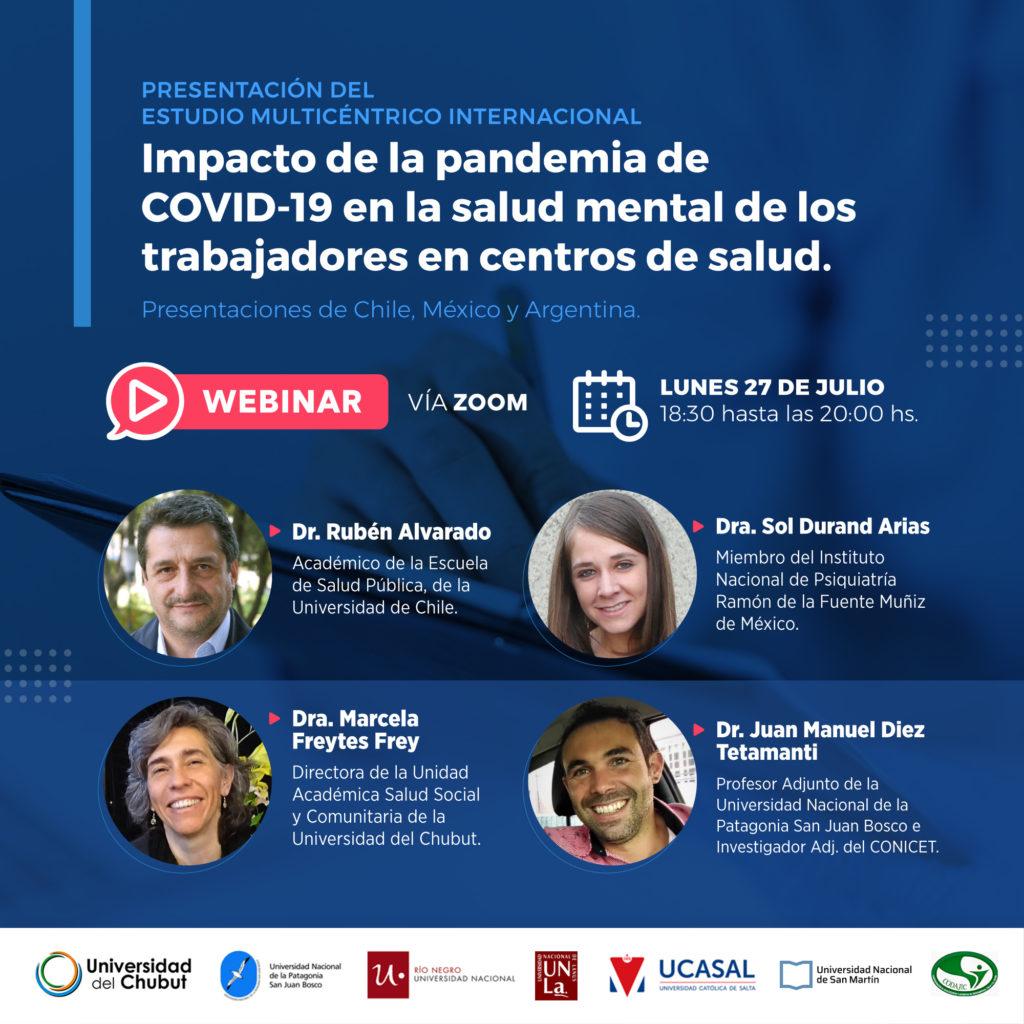"""[Evento] Presentación del Estudio internacional multicéntrico """"Impacto de la pandemia de COVID-19 en la salud mental de los trabajadores en centros de salud"""""""